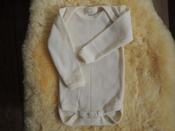Baby Body Langarm Wolle-Baumwolle